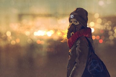 young woman with gas mask in winter with bokeh light on background