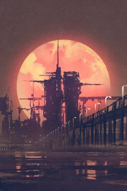 futuristic city with red planet on background