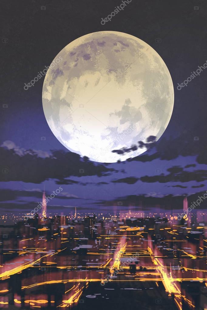 night scenery of full moon over night city skyline