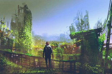 man standing on old bridge in overgrown city