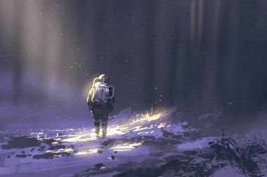 alone astronaut walking in snow