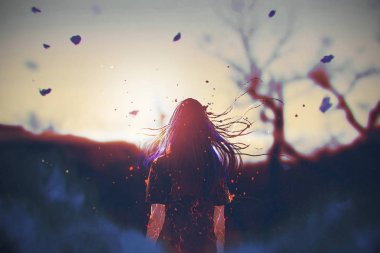 woman with cracked effect on her body looking the sunrise