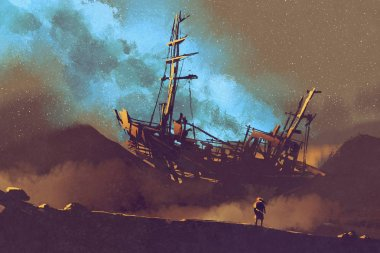 abandoned ship on the desert with stary sky