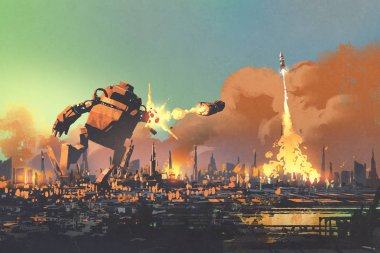 the giant robot destroy the city