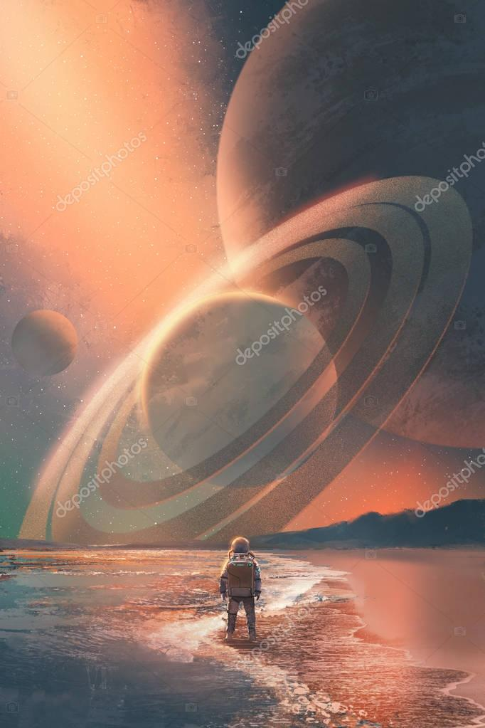 the astronaut standing on the beach looking at planets