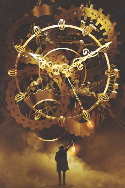 man with a lantern standing in front of the big golden clockwork