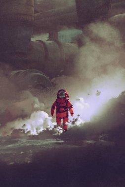 astronaut walking through smoke on planet