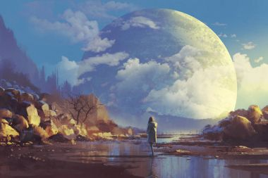 scenery of lonely woman looking at another earth