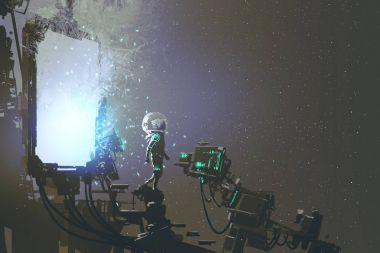 the astronaut walking out through futuristic portal