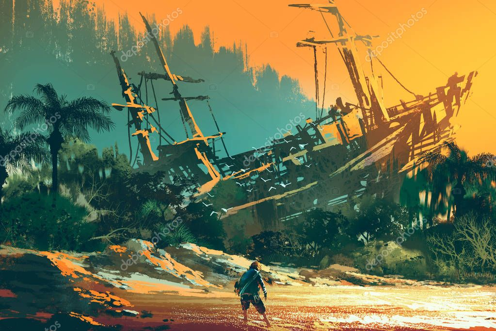 the castaway man standing on island beach
