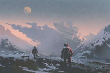 astronauts walking to derelict spaceship on alien planet