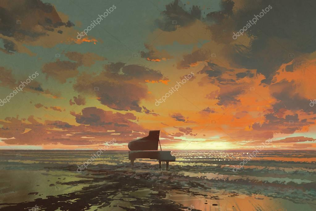 black piano on the beach at sunset
