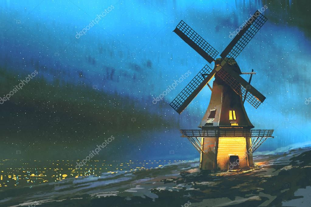 the windmill on the mountain in winter