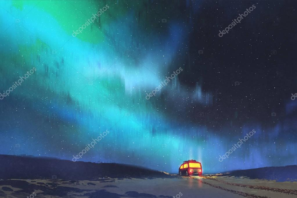 the van parked by a beautiful starry sky