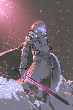 futuristic knight with glowing sword
