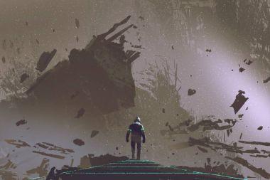 the astronaut walking on light path in dead earth