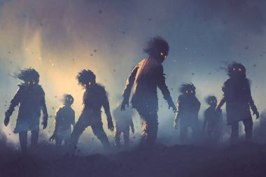 Halloween concept of zombie crowd walking at night