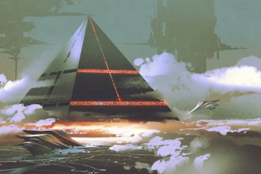 futuristic black pyramid floating over earth surface