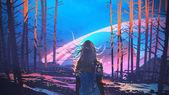 žena stojí sám v lese s fiktivním pozadím