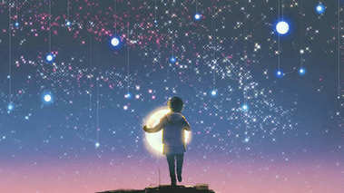 boy holding glowing moon standing against hanging stars