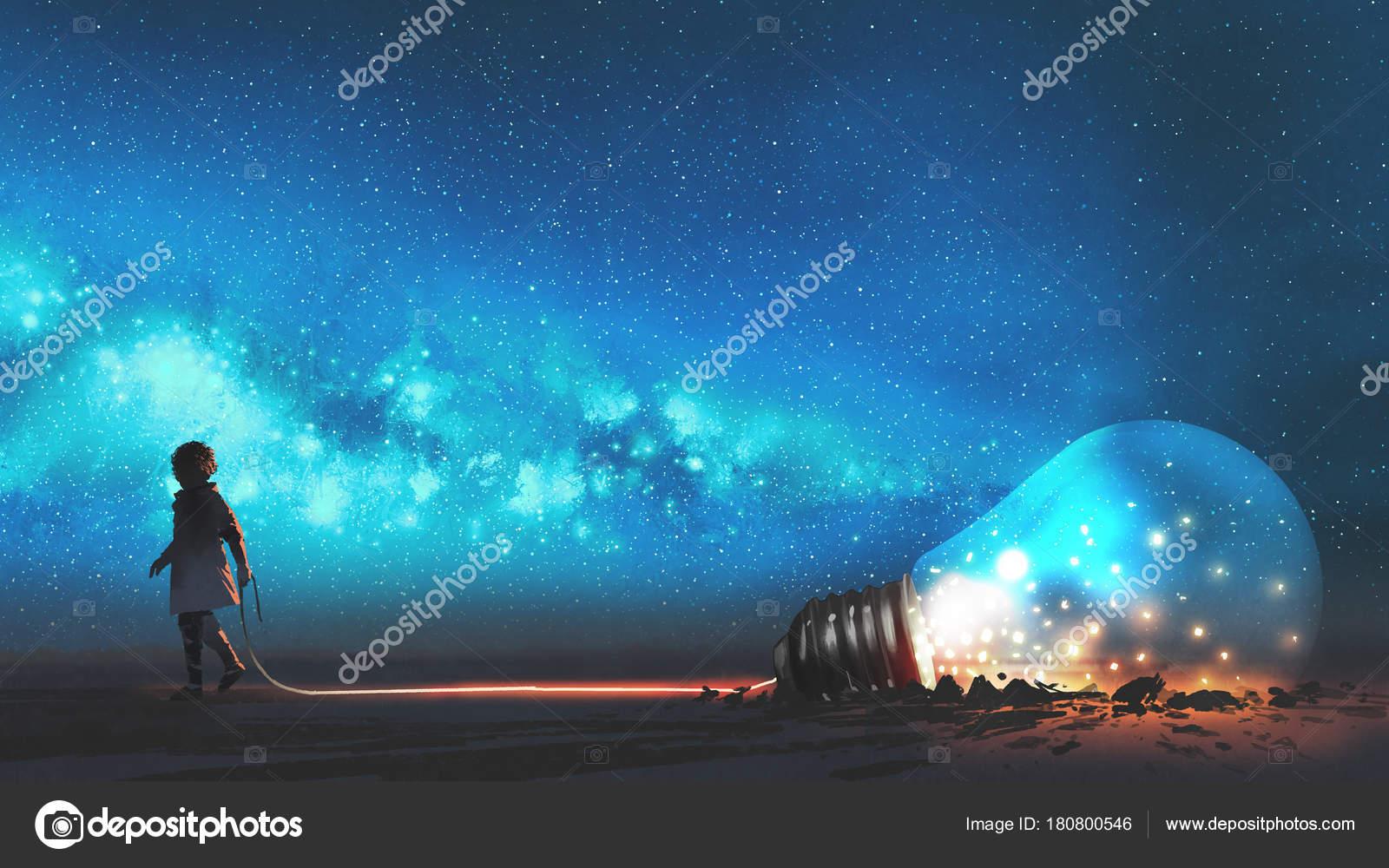 çocuk Büyük Ampul Yarısı Gece Gökyüzünde Yıldızlar Uzay Tozu Dijital