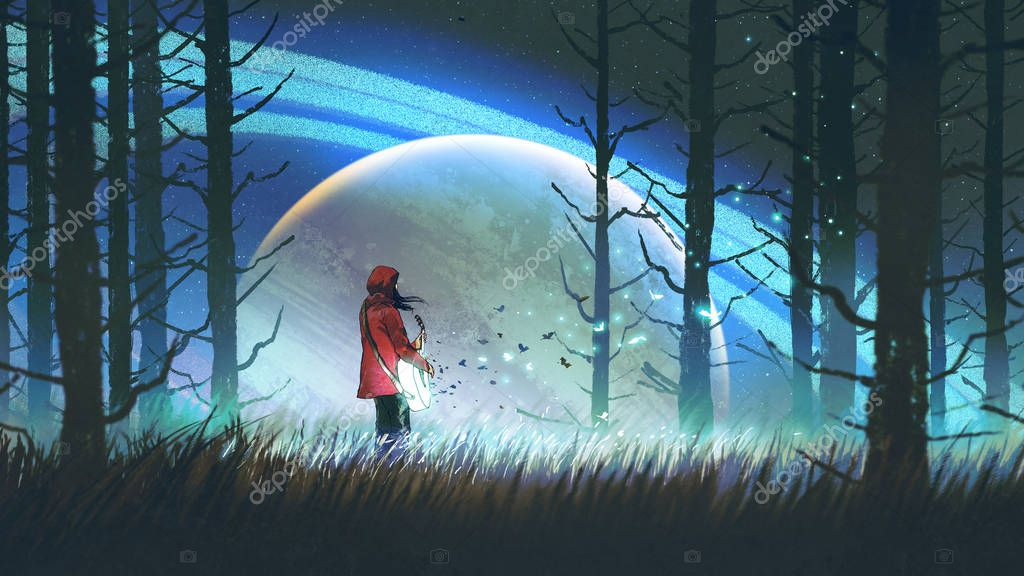 night scenery of young woman playing a magic guitar in the forest against glowing planet on background, digital art style, illustration painting