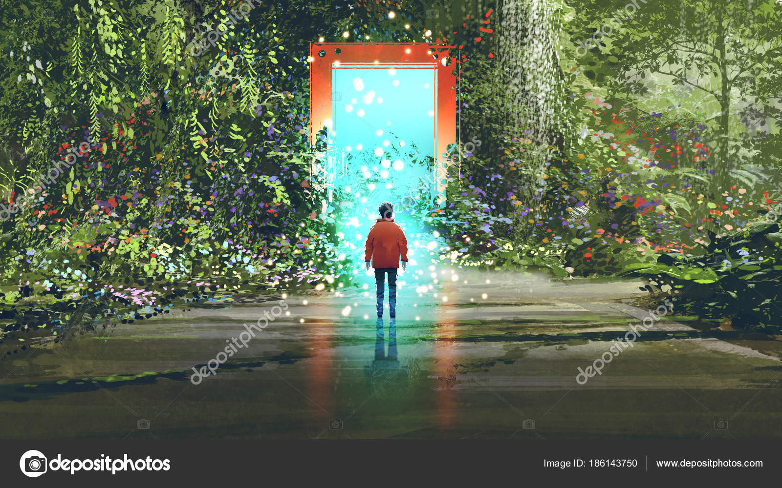 Fantasy Scenery Showing Boy Standing Front Magic Gate