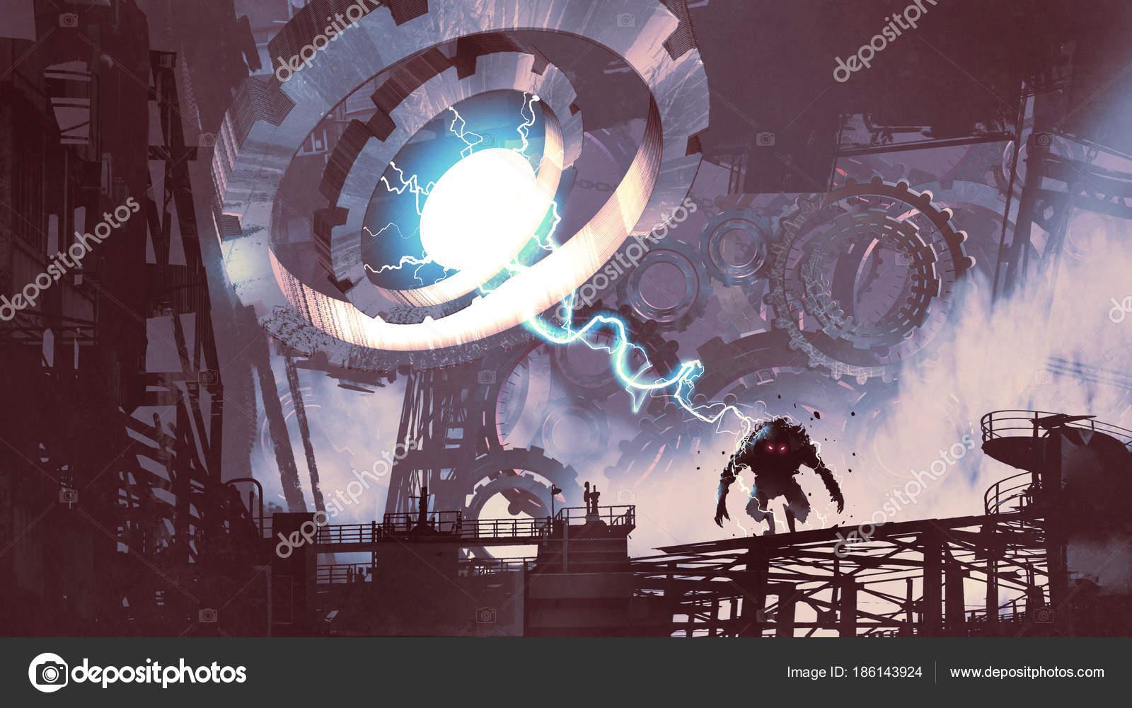 Sci Scene Giant Machine Blue Light Creating Monster Old Factory