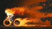 Fotografie Muž, jízda na horském kole s Horákem na tmavém pozadí, styl digitální umění, ilustrace, malba