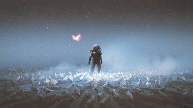 astronaut standing among flock of bird, single glowing unique bird flying around, digital art style, illustration paintin