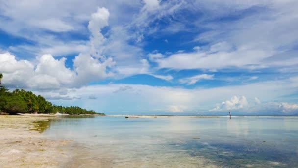 Barevný klip od prachový bílý písek pláží San Juan, Siquijor Island; Převzato z mělké bazény zanechaly odlivu. Místní mohou prohléhnout chodit sbírat mušle