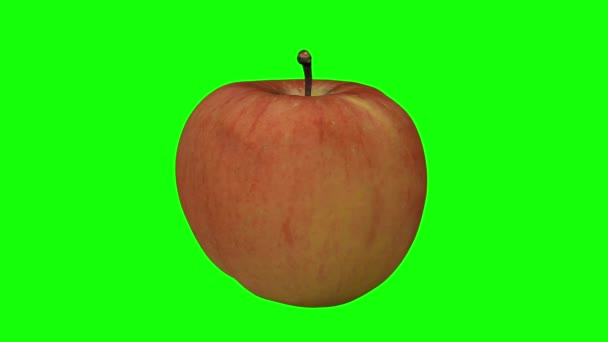 3D render of a rotating Fuji apple on green background (for green screen keying). The video is seamlessly looping.