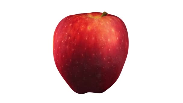 3D render of a rotating Red Delicious apple on white background. The video is seamlessly looping.