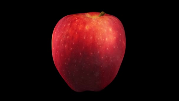 3D render of a rotating Red Delicious apple on black background. The video is seamlessly looping.