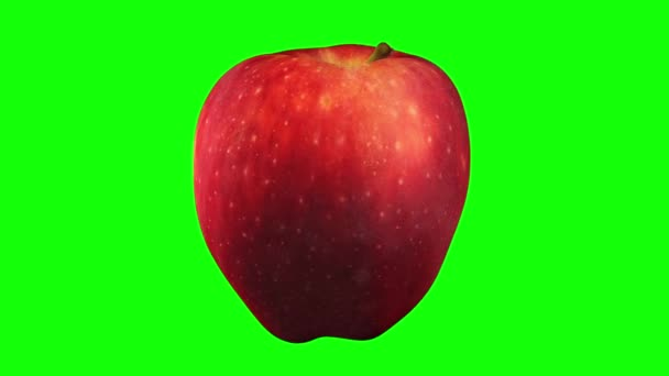3D render of a rotating Red Delicious apple on green background (for green screen keying). The video is seamlessly looping.