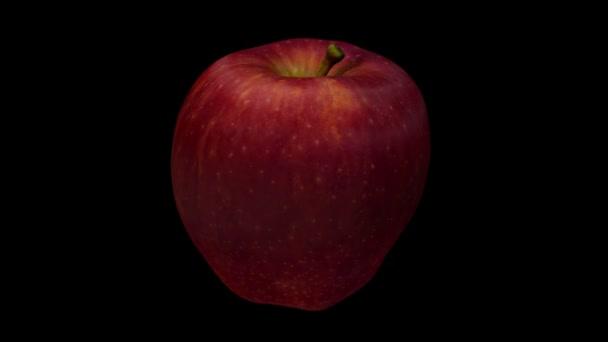 3D render egy forgó Finom Apple fekete háttér. A videó tökéletesen hurok.
