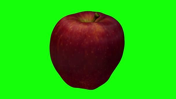 3D činí z rotující Red Delicious apple na zeleném pozadí. Video je bezproblémově opakování.