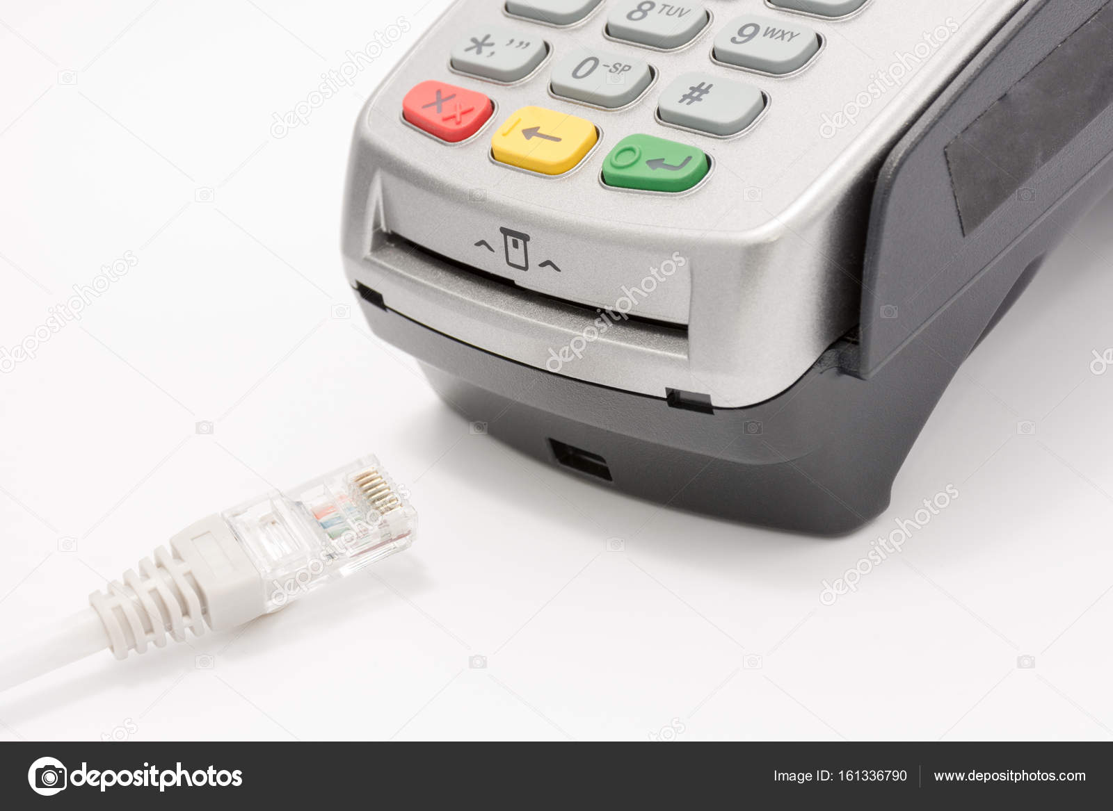 Wireless LAN cable with A credit card swipe machine on white — Stock ...