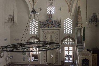 MOSTAR, BOSNIA AND HERZEGOVINA - AUGUST 17 2017: Interiors of Karadjoz-bey mosque in Mostar