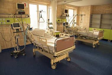 modern medical bed and a special device in the modern ward of re