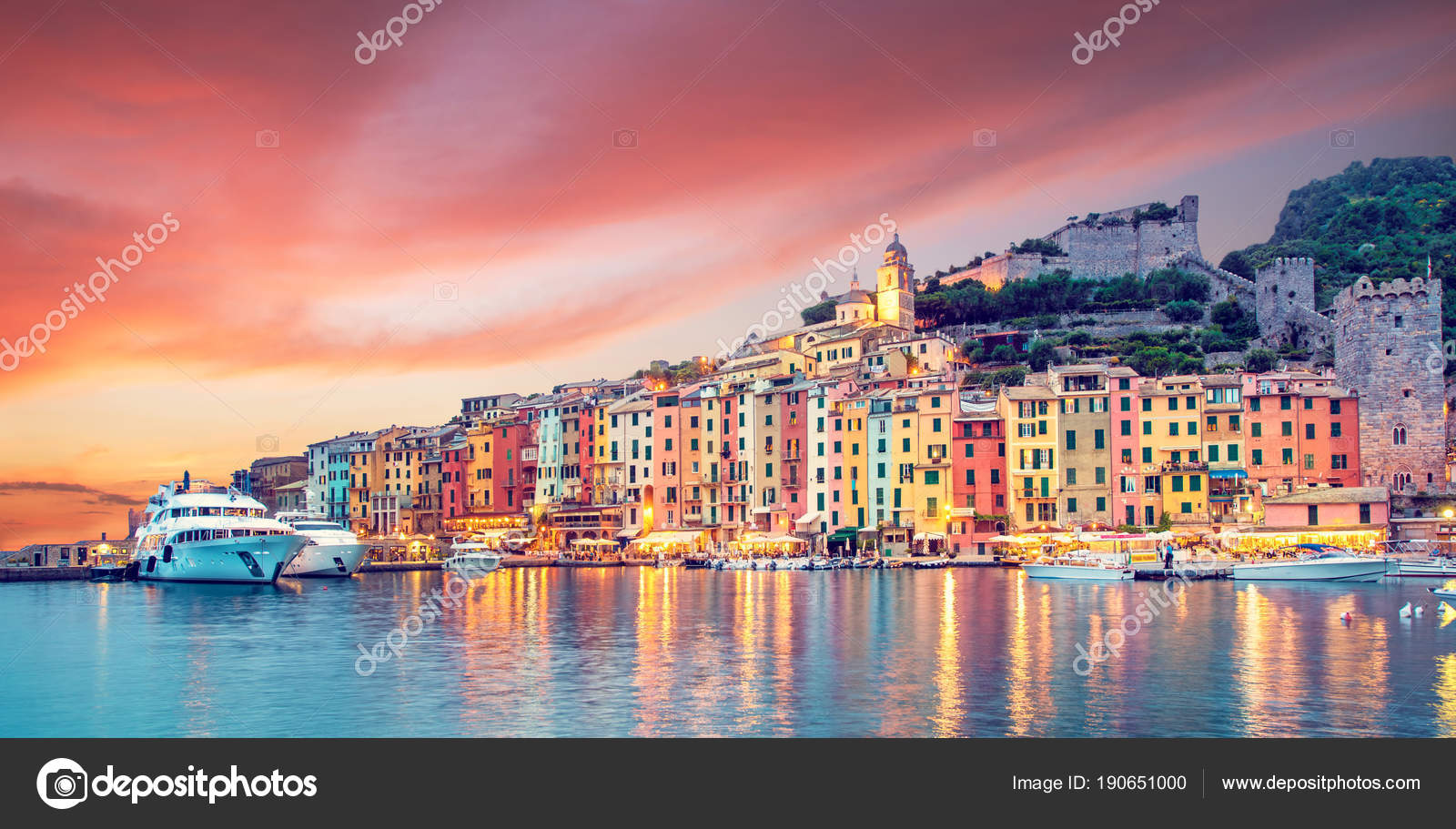 Mystic landscape of the harbor with colorful houses in the boats ...