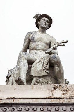 statue of god Hermes (Mercury), personification of success, pros