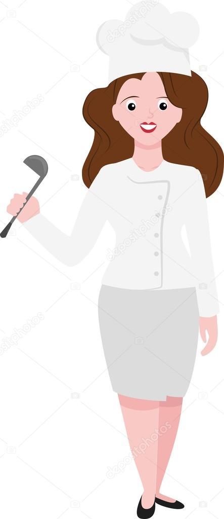 Cook Féminine Chef De Femme Drôle De Dessin Animé Avec La Cuillère