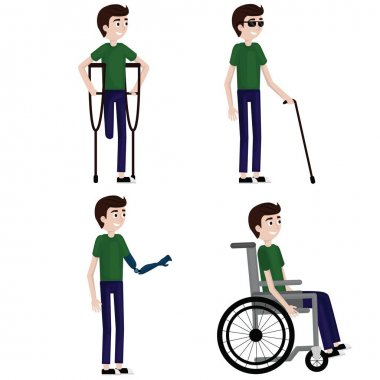 Disabled man set: one leg, wheelchair, blind, one hand.