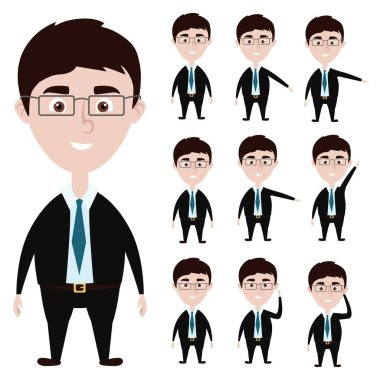 Cartoon businessman action poses: hold glasess, show something, lift hand up