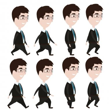 Animation of walking cartoon businessman in glasses