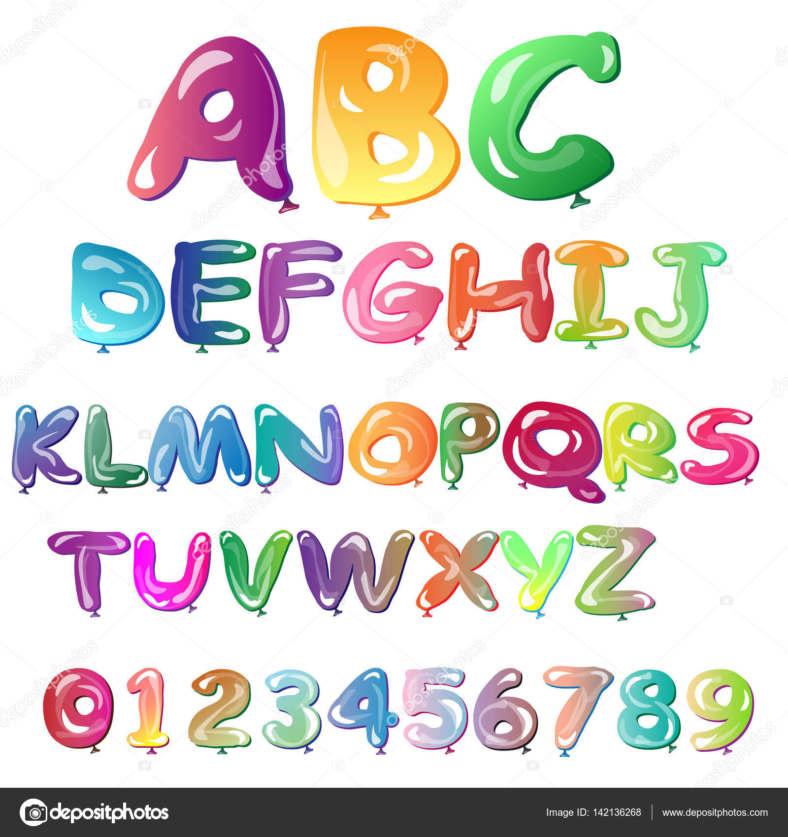 Alphabet In The Form Of Balloons Easy Editable Vector File Perfect Letters Design For