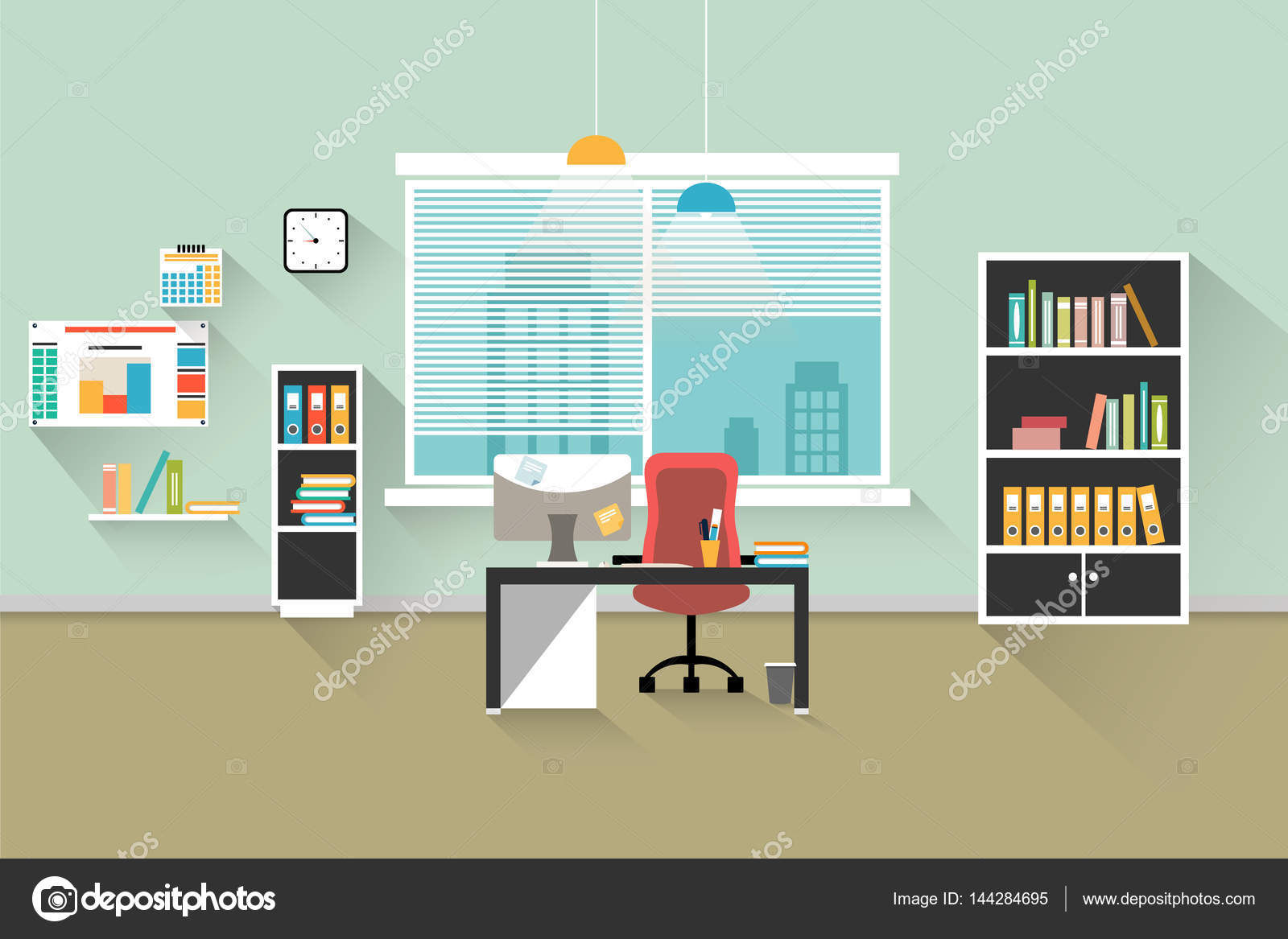 Intérieur de bureau moderne. simple image vectorielle u2014 image