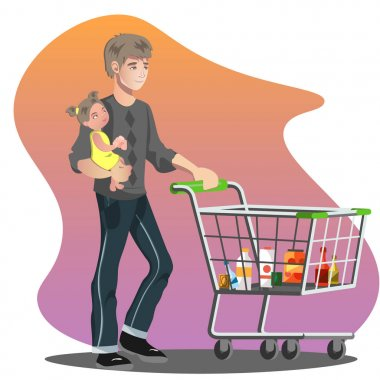 Father with daughter and shopping cart. Family shopping isolated clip art vector