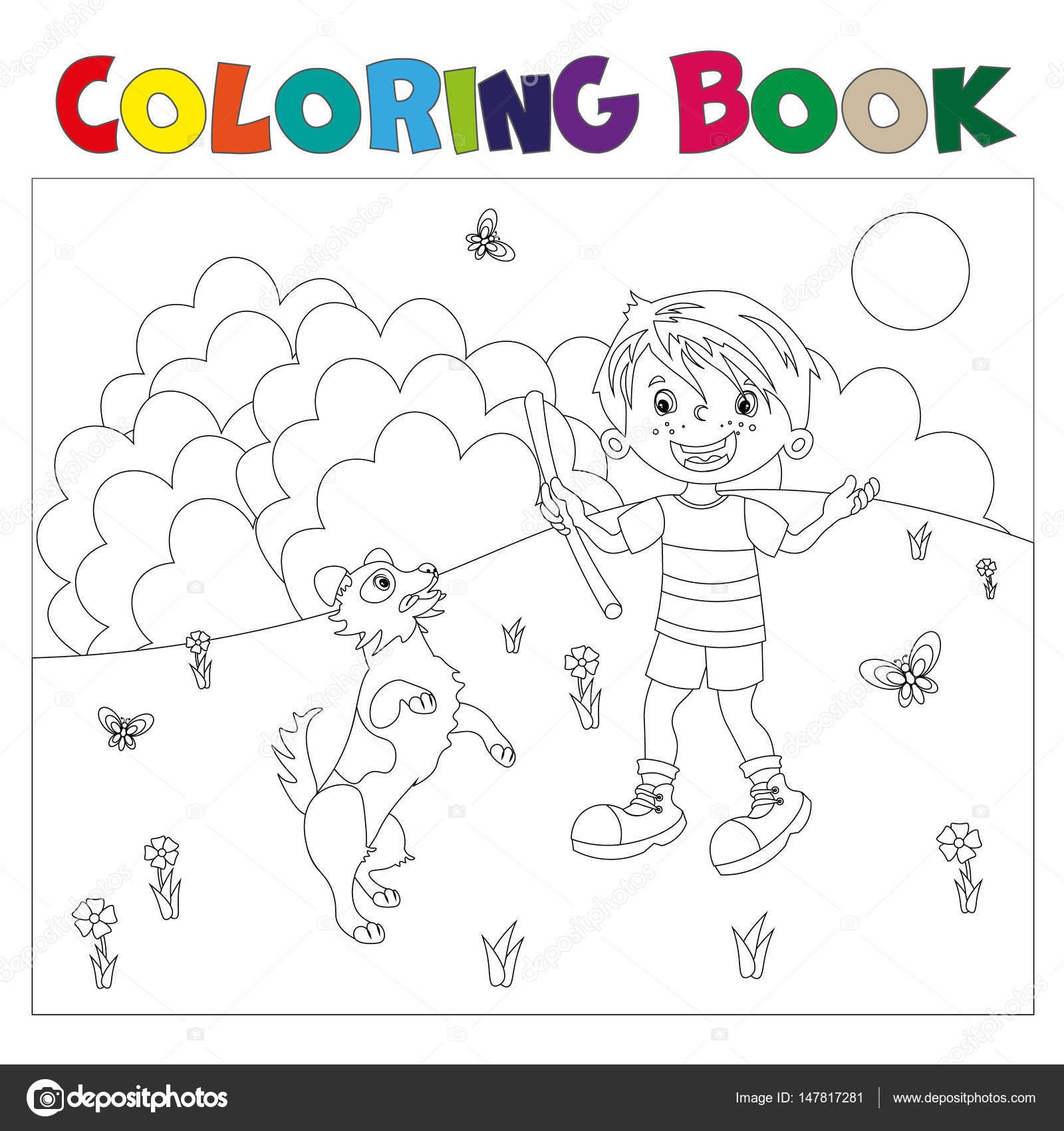 kleurplaat pagina overzicht jongen met hond